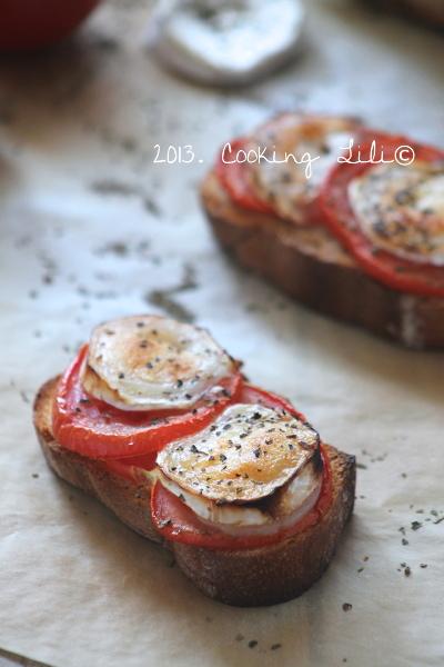 Brushetta Tomate Chèvre et Basilic