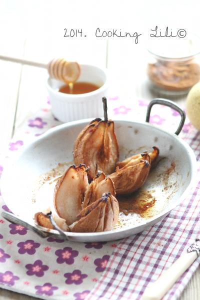 Poires rôties au miel et cannelle