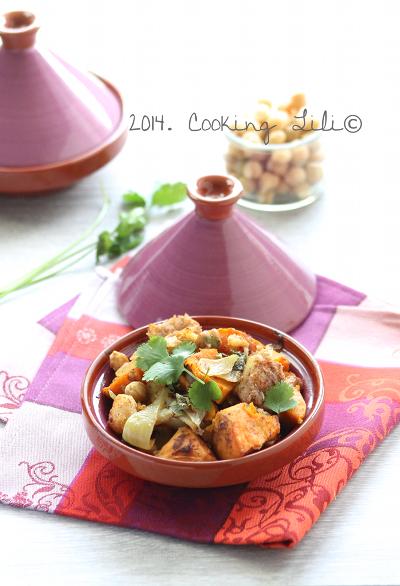 Tajine de cabillaud patate douce coriandre