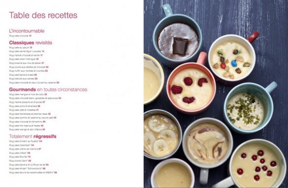 Table des matières mug cakes