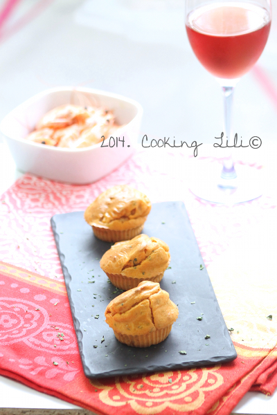 Mini muffins aux crevettes et coriandre