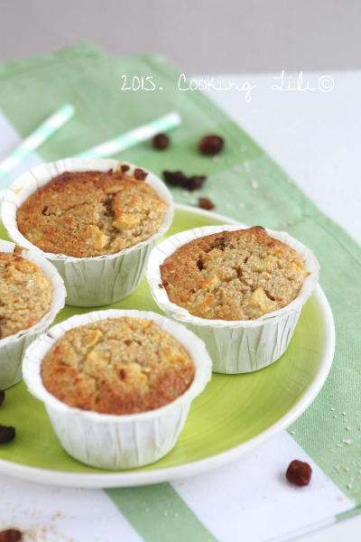 Muffins pommes raisins son avoine