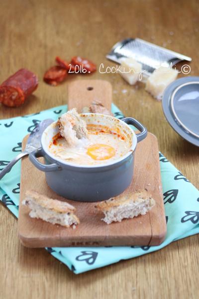 oeuf cocotte parmesan chorizo