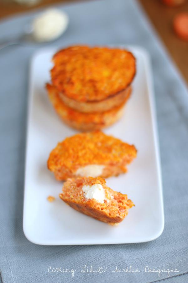 palets de carottes et coeur fromage