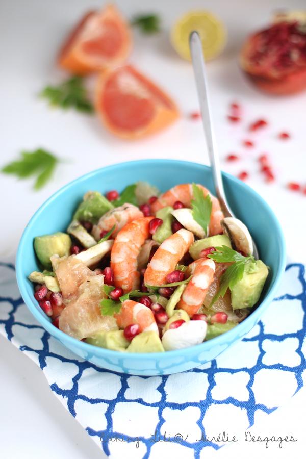 salade crevettes pamplemousse et grenade